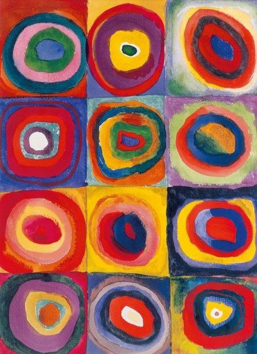 Vasily Kandinski Squares with Concentric Rings La visión del arte desde el objeto .El objeto borrado de abstracción postpictorica de ausencia total de formas.