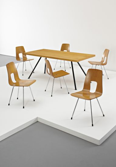 PHILLIPS : UK050210, HANS BELLMANN, Rare dining table with six chairs #ModernsPIN