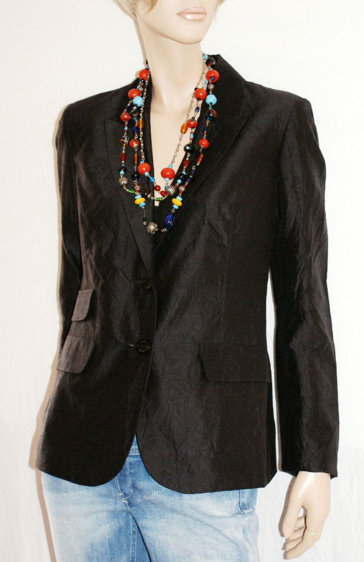 Pure Black Silk..Elegant Woman Blazer Jacket Lined Size 44 Branded GUESS Giacca Blazer Elegante Donna Nero Seta 100% Taglia 44…
