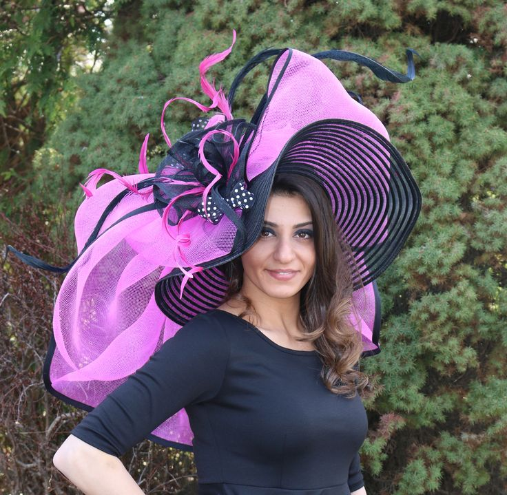 Pink and Black Kentucky Derby Hat by Vinzetta Millinery of Chicago at www.ChurchDerbyHats.com 1-855-Hat-Lady Kentucky Derby Hats Church Hat