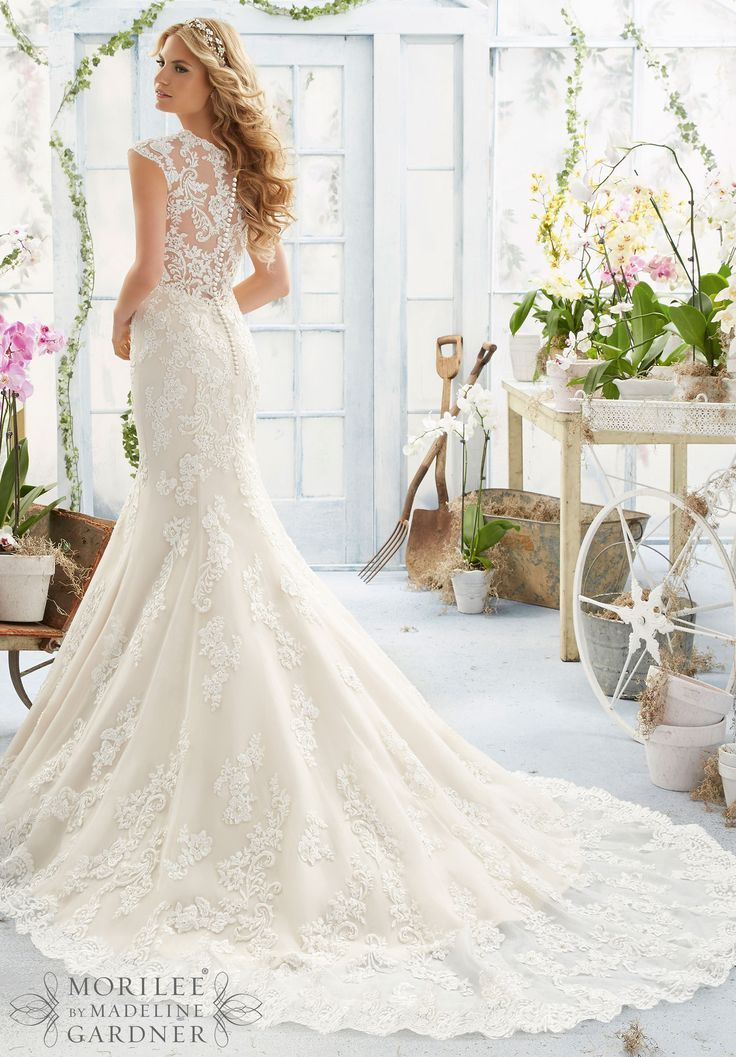 Mori Lee 2806 Lace Sleeve Fit & Flare Wedding Dress