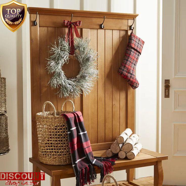 Wood Rack Modern Stand Hall Tree Storage Clothes Holder Coat Bench Furniture New #WoodRackModernStand #Modern