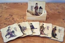 """Lady Geisha Coaster Set of 6 :: Asian Cups and Bowls """"#wedding #invitations  #dinnerware #weddinglist #glassware #party #kitchenware #stylish #beautifull #china,#gifts,#favors,#luxery, #porcelaindinnerware, #party,#cristal,#like4like, #ornaments #favors, #chic #engagement,#barware #wedgewood,#linkinprofile"""""""
