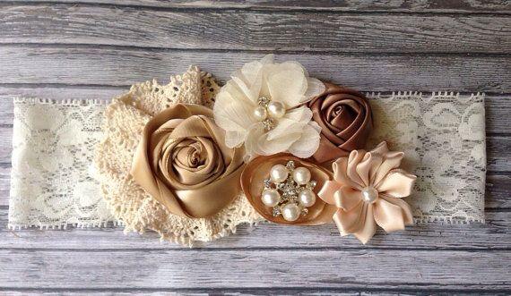 Vintage inspired Ivory taupe satin lace headband,cream flower headband-newborn…