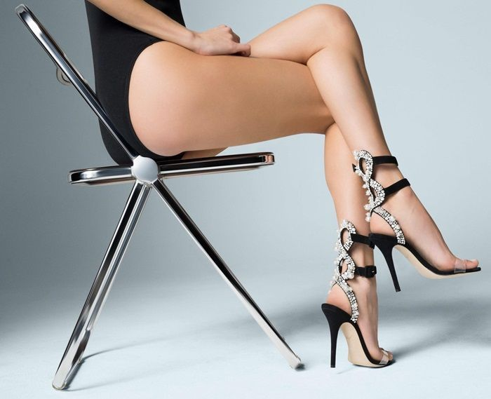 c931ec9a8c9 The black suede 'Vanessa' sandal from Giuseppe Zanotti is one ...