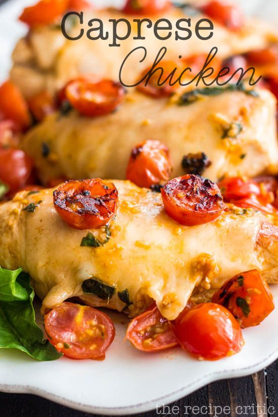 Caprese Chicken at http://therecipecritic.com  A delicious 30 minute meal that is packed with flavor and topped with cheese!