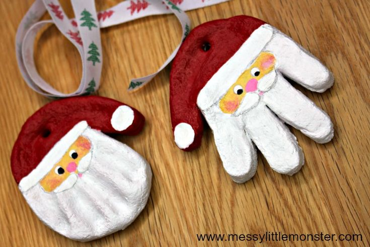 Santa Salt Dough Handprint Ornaments & Easy Salt Dough ...