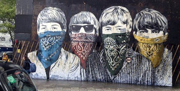 Street art by Mr Brainwash..Mr Brainwash, Artists Licen, Art Architecture, Brainwash Beatles, Artists Enigma, London Street Art Design, Art En, Streetart, Graffiti Art
