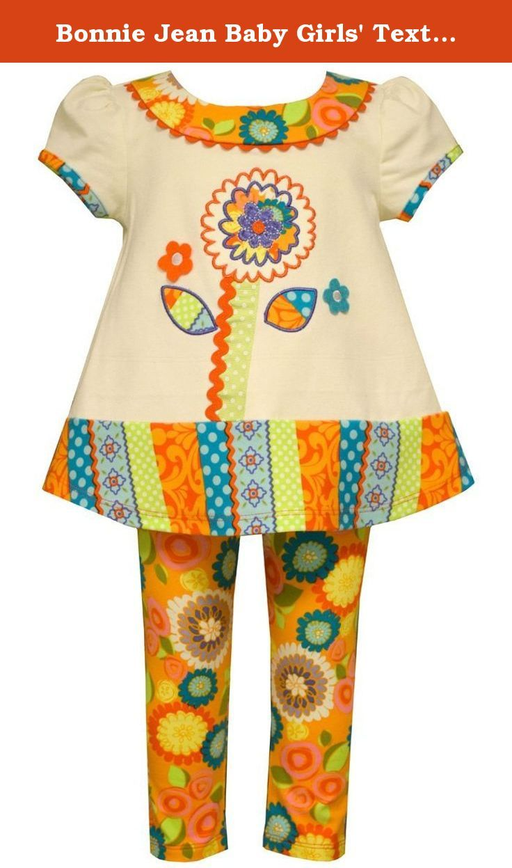 Bonnie Jean Baby Girls' Textured Knit Legging Set (6-9 Months, Orange ). Two piece fall floral leggings set.