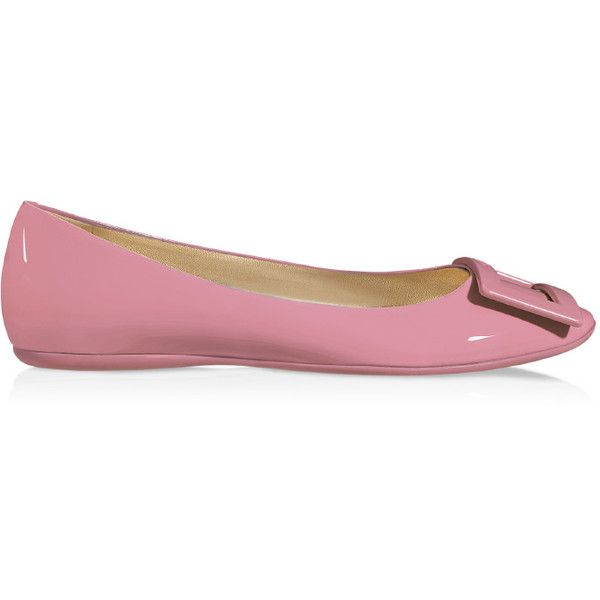 Roger Vivier - Gommette Ballerinas in Patent Leather ($420) ❤ liked on Polyvore featuring shoes, flats, pink, metallic ballet flats, pink patent leather flats, pink flats, ballerina flats and ballet shoes