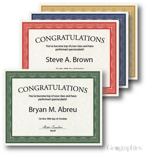 Award Certificates Traditional Assorted, 8.5x11, 60lb Cover, 40/PK