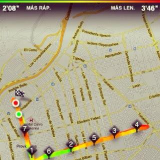 Recorrido en bicicleta del día de hoy. Mapa hecho con la App de Nike+.