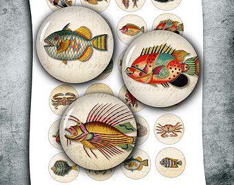 """Antike seltsamen Fisch Kreis Bilder 1 """", 25mm, 30mm, 1,5"""" Flasche Kappe Bilder, druckbare Bilder Digital Collage Sheet - Instant Download"""