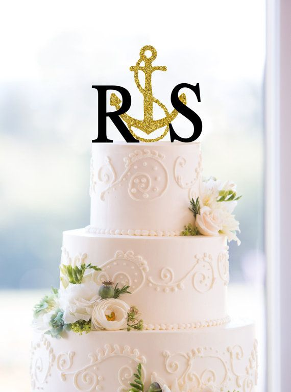 Monogram Wedding Cake Topper – Custom 2 Initials Topper with Anchor Available in 15 Colors, 12 Fonts and 18 Glitter Options