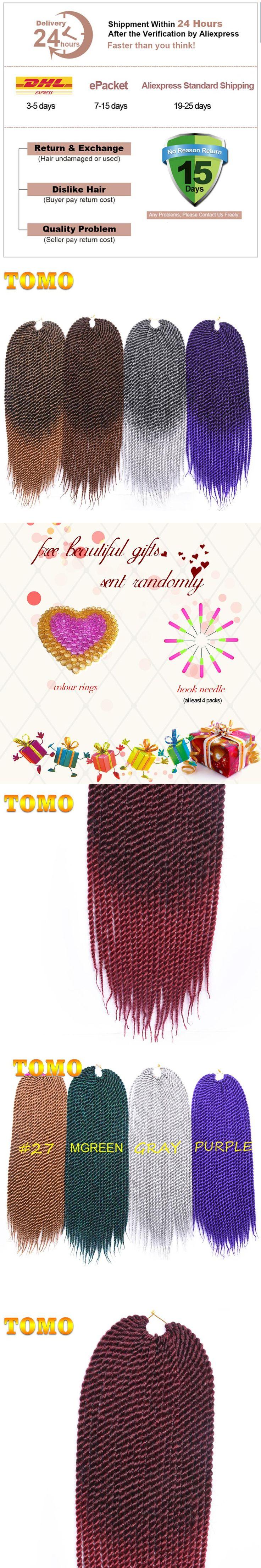 TOMO 22 inch Medium Ombre Crotchet Braids 22roots Kanekalon Synthetic Hair For Braiding Senegalese Twist Crochet Hair Weave
