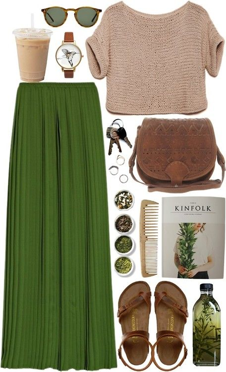 Birkenstock style-love the shoes, skirt  sweater....but idk why all the other stuff is in this pic -are u supposed to walk around with oil  a comb as accessories?!?! Lol