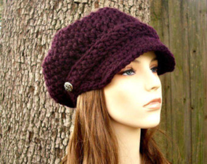 Crochet el sombrero mujer sombrero de vendedor de periódicos Hat - Sombrero de vendedor de periódicos del ganchillo en sombrero del ganchillo berenjena púrpura - sombrero morado para mujer accesorios