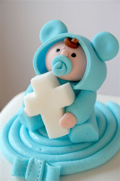 Christening Cake baby in blue with cross