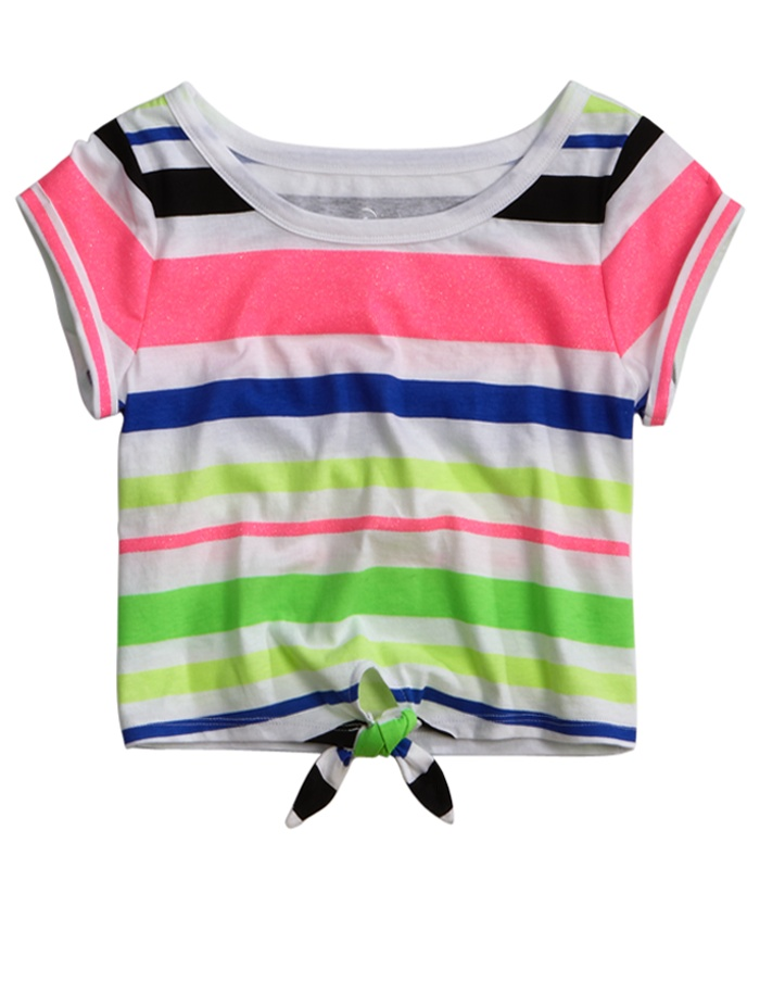 Girls Clothing | Short Sleeve | Stripe Tie-front Crop Top ...