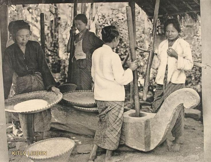 Rijststampen door Brouwer op Java 1910. Het stamped van de padi.