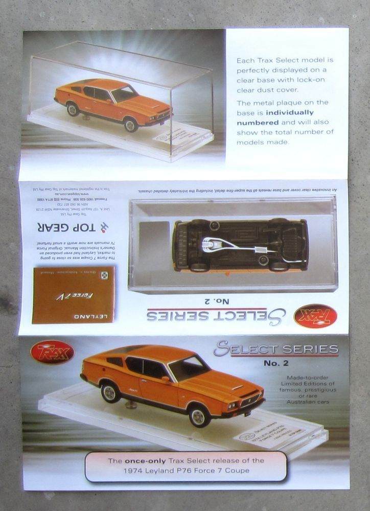 LEYLAND P76 FORCE 7V COUPE 1974 model diecast 1/43 TRAX Select brochure leaflet #TRAX #LEYLAND