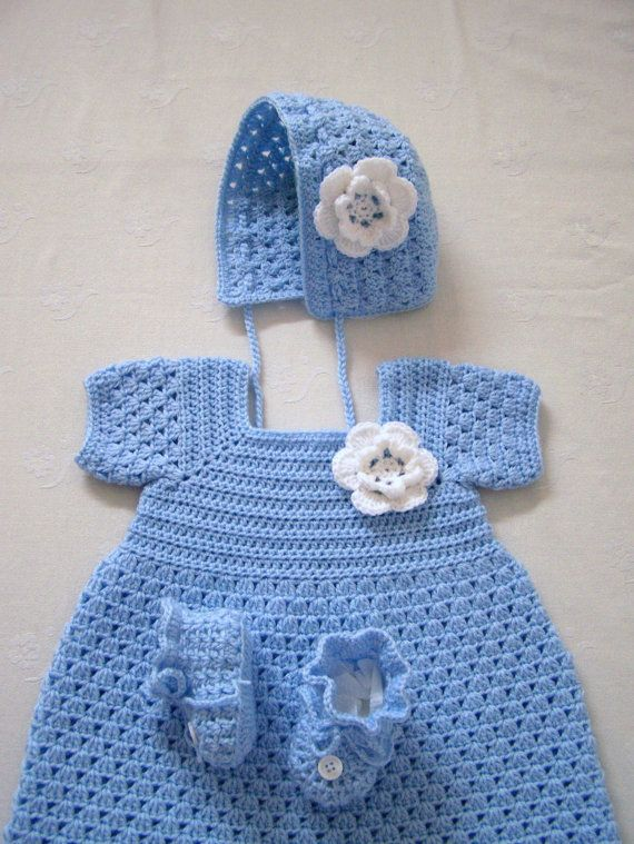 Crochet Baby Dress Crochet Baby Set by craftswithlove4U on Etsy, $60.00
