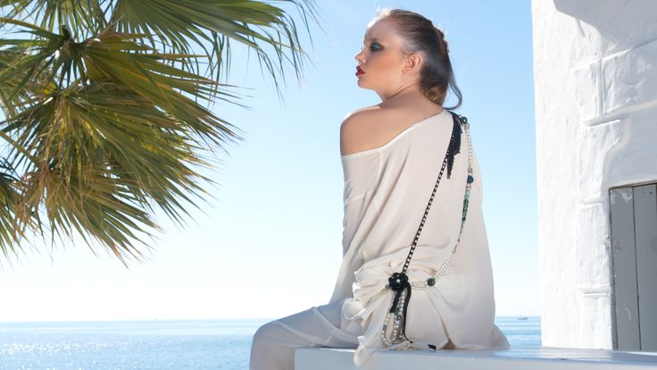 Silk blouse, hand made necklace with leather   and silk pants www.maurizio.gr