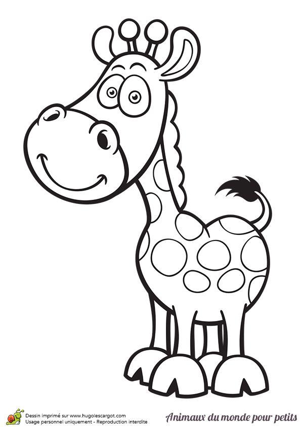 Le girafe fait partie des animaux sauvages présents en Afrique, dessin à colorier