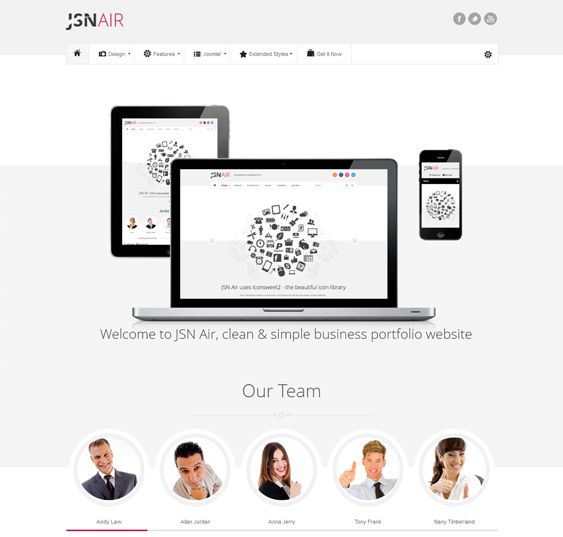 This minimal Joomla template has a responsive layout, more than 40 template parameters, 6 menu styles, 3 font styles, 6 predefined color schemes, 20 icons, 6 module styles, and more.