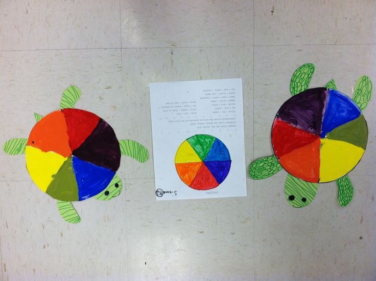 art in primary colors kindergarten color wheel turtles