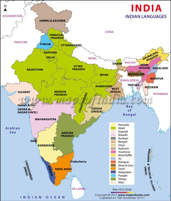 The Spread of English: MAP 10 -- English in India -- The British East India Company brought English to the Indian subcontinent in the 17th century, and the period of British colonialism established English as the governing language. It still is, in part due to India's incredible linguistic diversity. But languages from India contributed to English, too: shampoo, pajamas, bungalow, bangle, and cash all come from Indian languages.  Maps of India