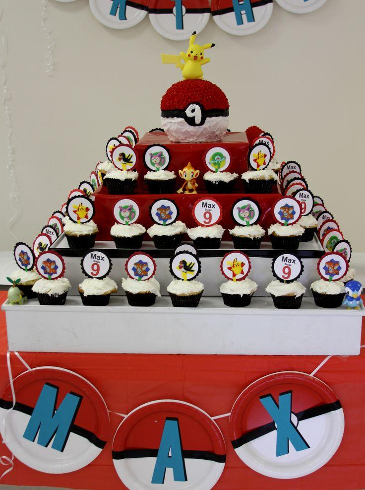 Pokemon birthday cupcake stand!  Max.....stage 9.