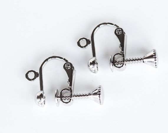 2448_Silver ear clips 10x13 mm, Non pierced earrings supplies, Clip on earrings Screw back clips Clip earring screw Earring findings_2 pairs