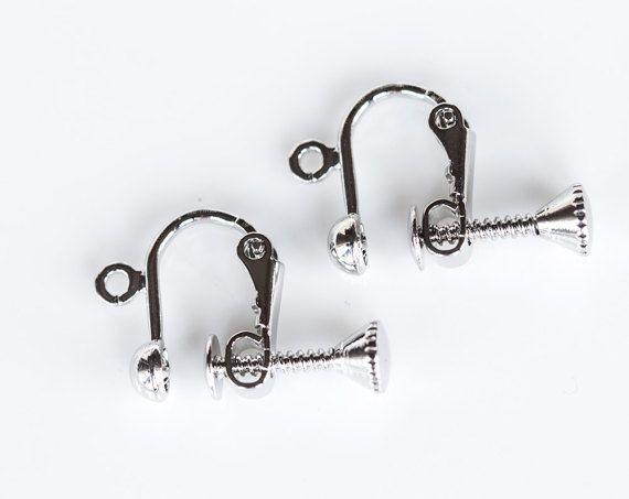 2448_Silver ear clips 10x13 mm, Non pierced earrings supplies, Clip on earrings Screw back clips Clip earring screw Earring findings_2 pairs