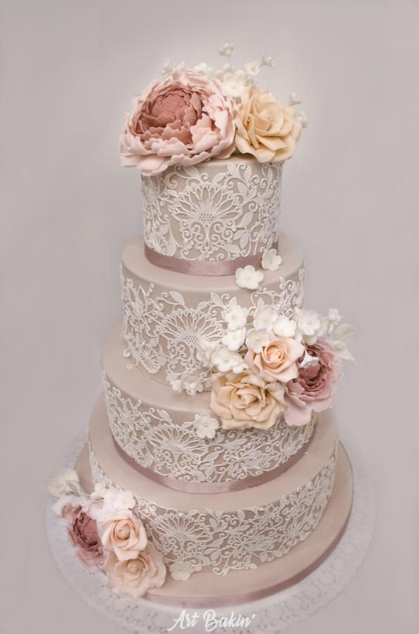 Lace Wedding Cake by Art Bakin - http://cakesdecor.com/cakes/257648-lace-wedding-cake