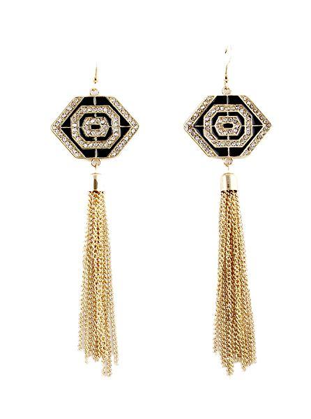 <b>Gold Diamond</b> Geometric Chain <b>Tassel</b> Earrings US$5.93 | Что ...