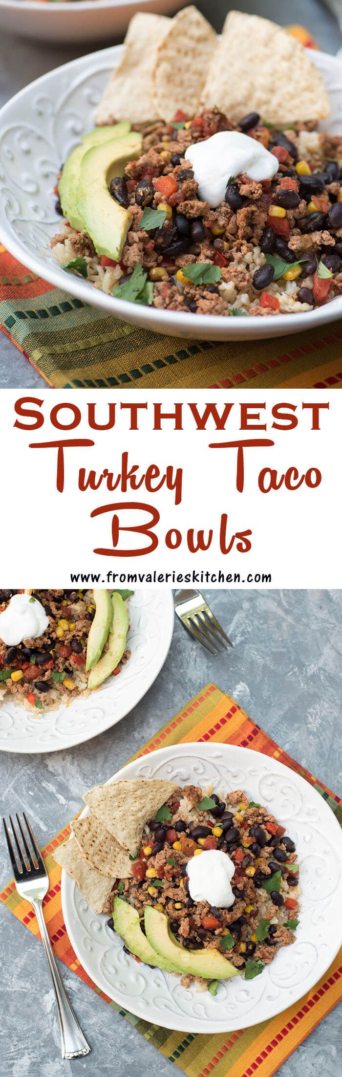 These flavorful Southwest Turkey Taco Bowls are a delicious way to lighten up your menu and you won't believe how quick and easy they are to prepare!