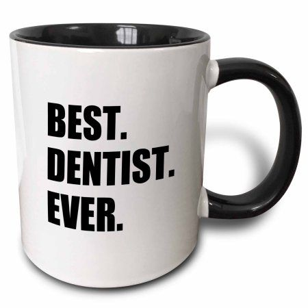 3dRose Best Dentist Ever - fun job pride gifts for dentistry career work, Two Tone Black Mug, 11oz