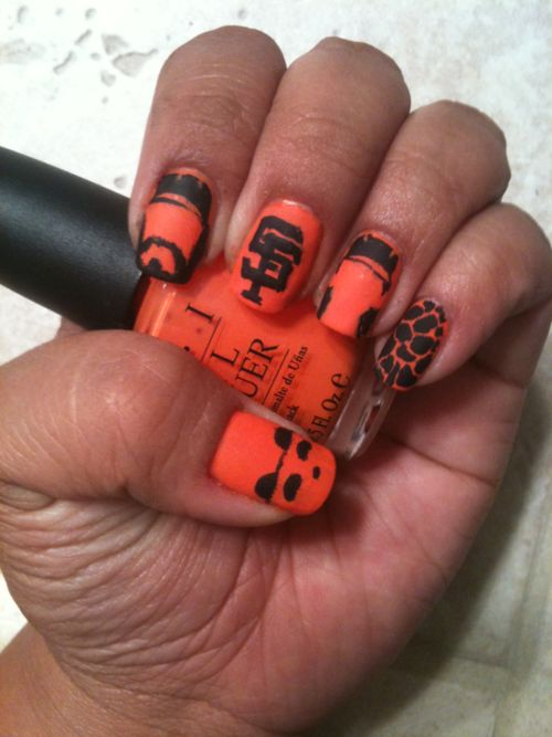 Haha.. Iook Julie!!! You need this mani <3... Thanks Kayla!!!San Francisco Giants Nails, Giants Basebal, Sfgiants, The Games, Nails Desing, Basebal Seasons, San Francisco Nails, Nails Art Design, Sf Giants