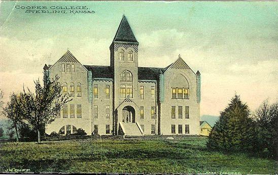 Cooper College, Sterling, KS; now, Sterling College; image source: http://www.usgwarchives.net/ks/rice/postcards/cprcol.jpg