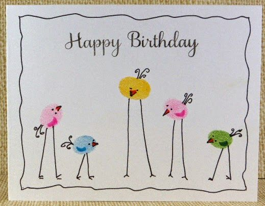 handmade card ... one layer ... from blue sky: Adapt a Fingerprint ... adorable stilt-legged birds from fingerprints ... cute! More