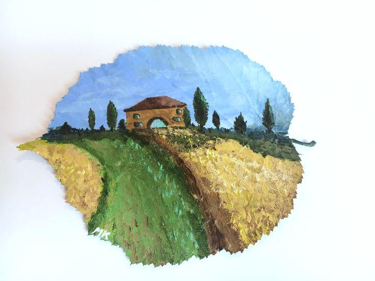 kunst mit acryl toskana landschaft auf echtem haselnuss blatt wie ich das gemalt habe siehst. Black Bedroom Furniture Sets. Home Design Ideas