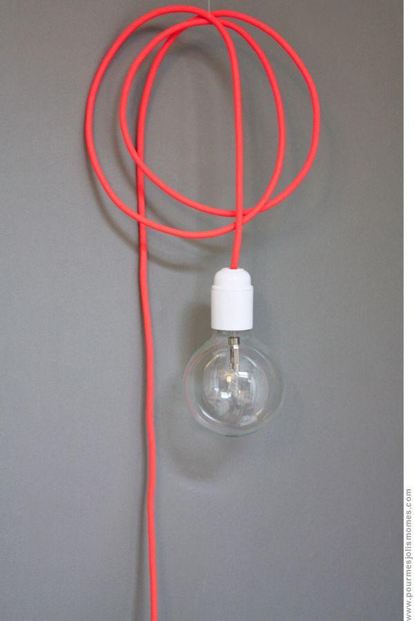 5 mètres de câble textile  Douille, prise et très grosse ampoule éco-halogène   pour mes jolis mômes mais pas que