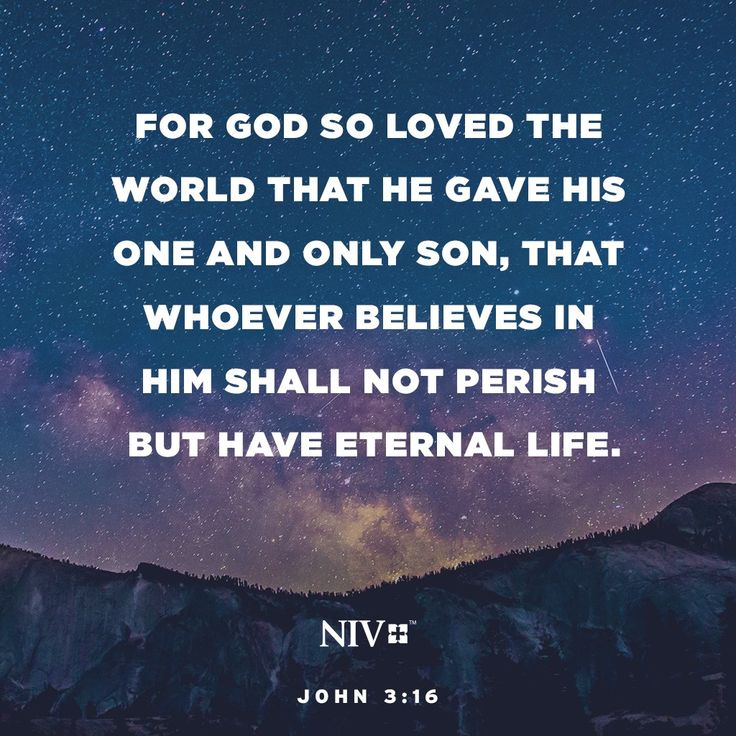 16 For God so loved the world that he gave his one and only Son, that whoever believes in him shall not perish but have eternal life. John 3:16