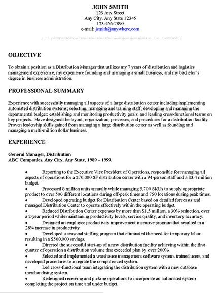 Example Resume Objective  Template