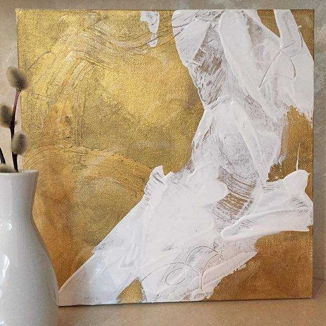 "Golds and texture create a shimmer against the white strokes. 10x10"" (25.4 x 25.4cm) mixed media on canvas.  •• Lynette Melnyk Contemporary Fine Art ••  FB/IG @lynettemelnykart"