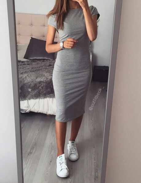 Grey knee length dress and Stan smiths