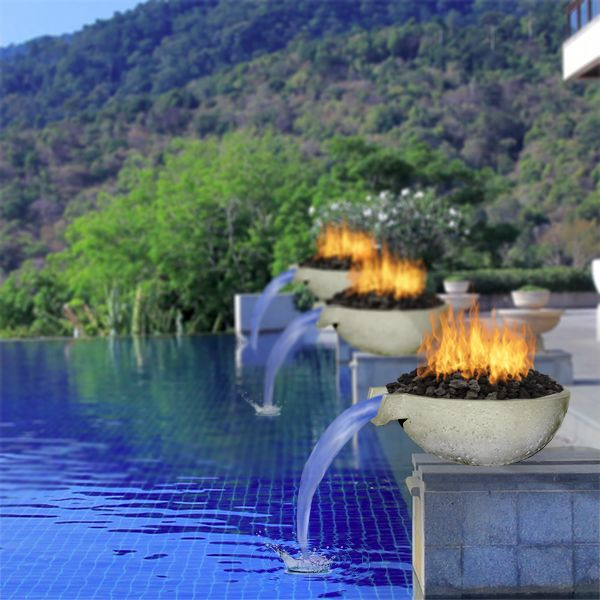 Fireside Xpressions Outdoors Pool Waterfall Fire
