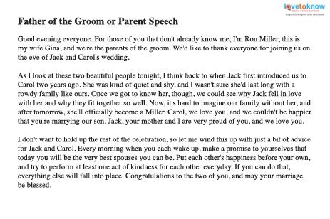 Rehearsal Dinner Speech Father or Parent thumb