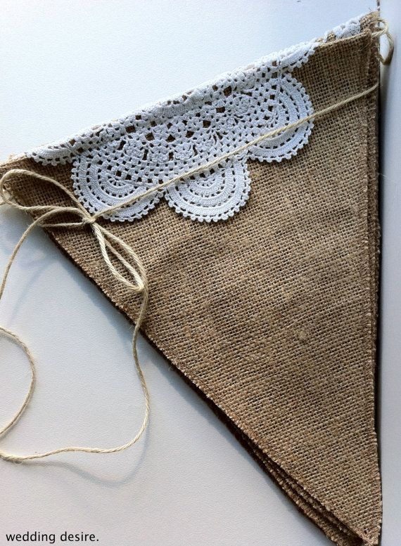 WEDDING Hessian/Burlap Triangle Doily BUNTING Genuine VINTAGE Doilies Measures 29cm x 23cm(top) with 80cm Jute at each end